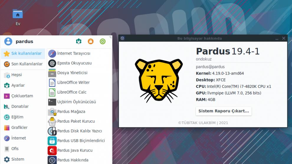 tübitak ulakbim Pardus-19-4-1 yeni sürüm işletim sistemi